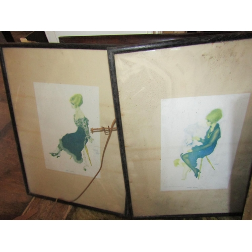 25 - Collection of Four Old Prints and Two Frames Six Items in Lot...