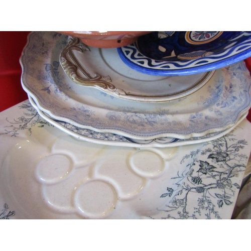26 - Collection of Various Old Pottery Items Including Platters Six in Lot Largest Approximately 22 Inche...
