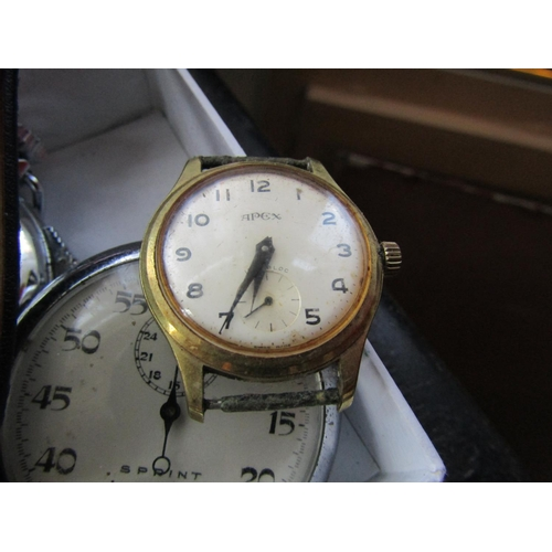 28 - Collection of Old Watches Including Stopwatch by Seatimer Quantity As Photographed...