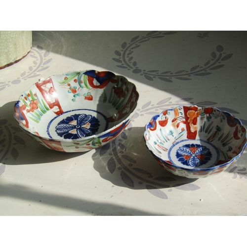 Two Antique Imari Bowls Largest Approximately 9 Inches Diameter