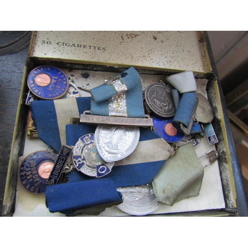 29 - Collection of Old Medals Some Silver Content Quantity As Photographed Contained within Old Sweetafto...