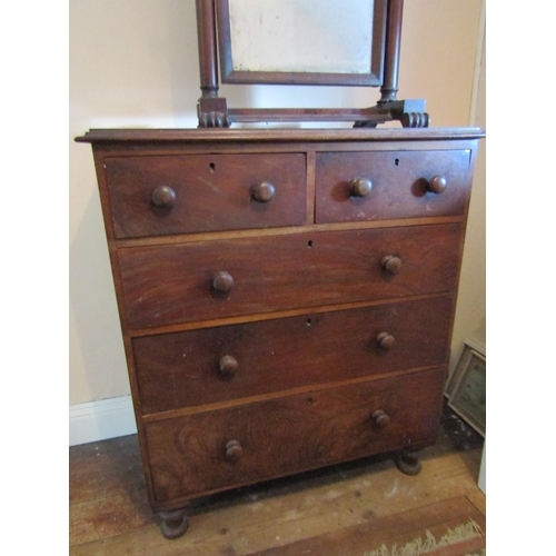 3 - William IV Mahogany Chest of Two Short Three Long Drawers above Turned Supports Approximately 38 Inc...
