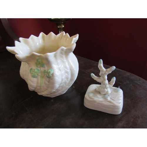 34 - Two Pieces of Green Mark Belleek Shamrock Motif Decorated Bowl and Another Largest Approximately 5 I...
