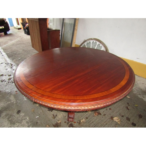 357 - Large Mahogany Satinwood Crossbanded 6ft Diameter Table Finely Detailed Supports Gadrooned Edge Deco...