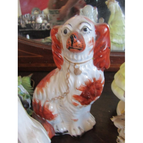 36 - Collection of Old Porcelain Items Including Staffordshire Dog and Figure of Lady with Bonnet Quantit...