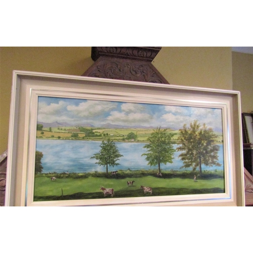 Stanley McCormick View Along the Bann Oil on Board Approximately 15 Inches High x 32 Inches Wide Framed Signed Lower Right