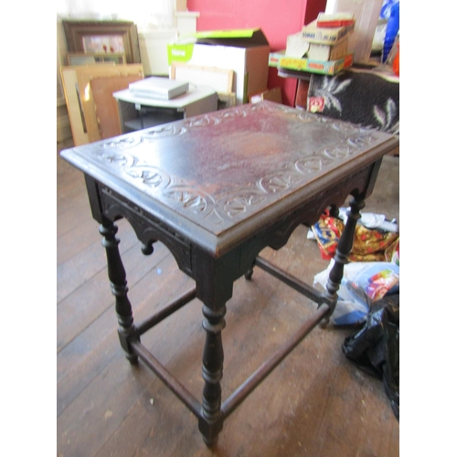 38 - Antique Jacobean Style Side Table with Carved Top above Turned Supports Approximately 22 Inches Wide...