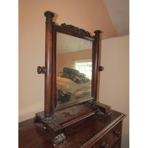 4 - William IV Mahogany Dressing Table Mirror with Upper Carved Decoration and Side Pillar Supports Appr...