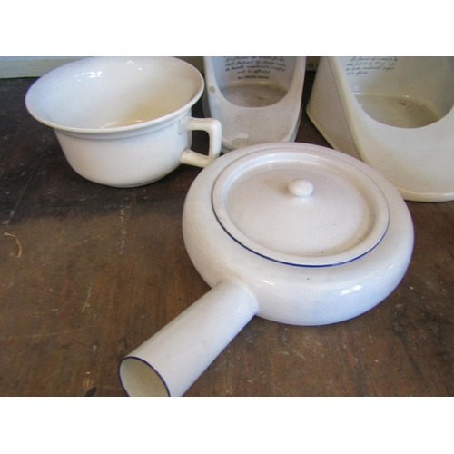 41 - Collection of Old Bathroom Porcelain Ware Including Water Picture and Pos Quantity As Photographed F...