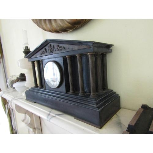 411 - Antique Marble Clock Grecian Temple Motif Central Dial Brass Ormolu Bound with Side Pillar Decoratio...