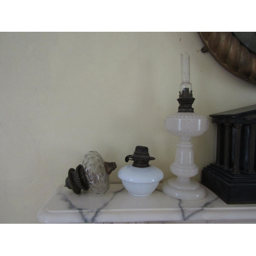 413 - Edwardian Milk Glass Column Oil Lamp and Two Other Parts Three in Lot...