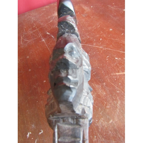 42 - Antique Carved African Tribal Stick with Detailed Handle Approximately 34 Inches High