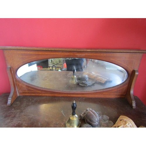 43 - Inlaid Mahogany Edwardian Overmantle with Oval Inset Mirror Approximately 36 Inches Wide x 16 Inches...