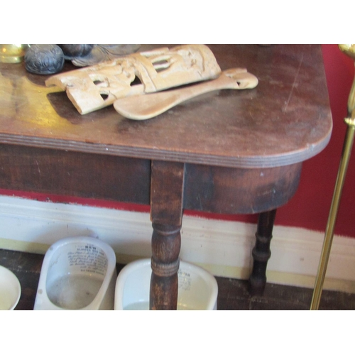 44 - George III Mahogany D End Side Table on Turned Supports Approximately 38 Inches Wide x 29 Inches Hig...