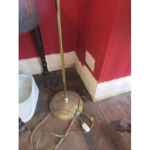 45 - Vintage Cast Brass Standard Lamp Electrified with Pagoda Form Shade Approximately 6ft High...
