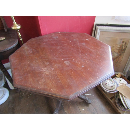 46 - Edwardian Octagonal Mahogany Table on Carved Supports Approximately 28 Inches Wide x 29 Inches High...
