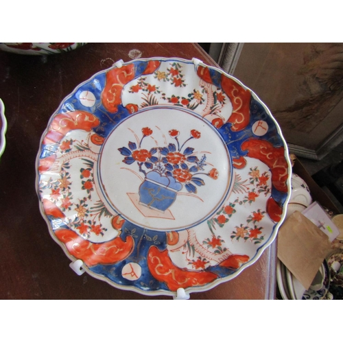 47 - Three Large Antique Imari Dishes Largest Approximately 14 Inches Diameter includes Pair...