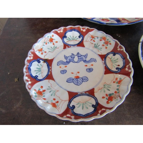 48 - Three Large Antique Imari Dishes Largest Approximately 14 Inches Wide...