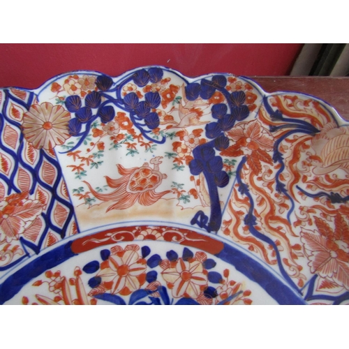 49 - Very Large Scallop Form Imari Dish Antique Approximately 15 Inches Diameter...