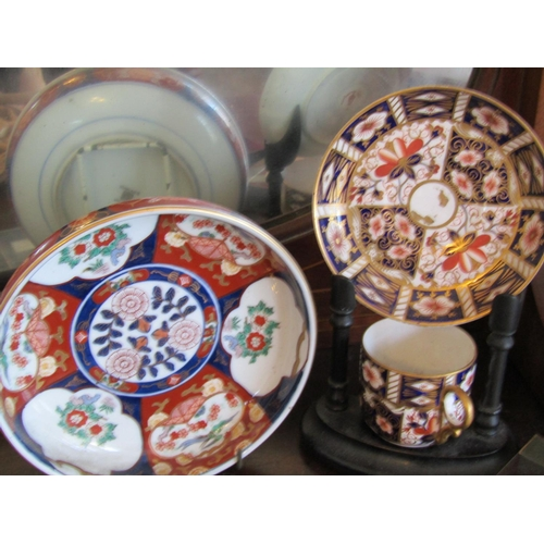 52 - Royal Crown Derby Cup and Saucer on Presentation Stand with Imari Charger Aynsley and Other Items Se...