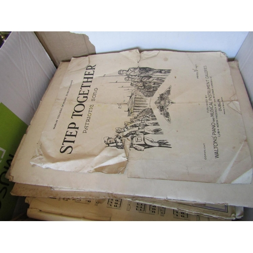 55 - Quantity of Old Records and Song Sheets Including Step Together The Patriots Song with Depiction of ...