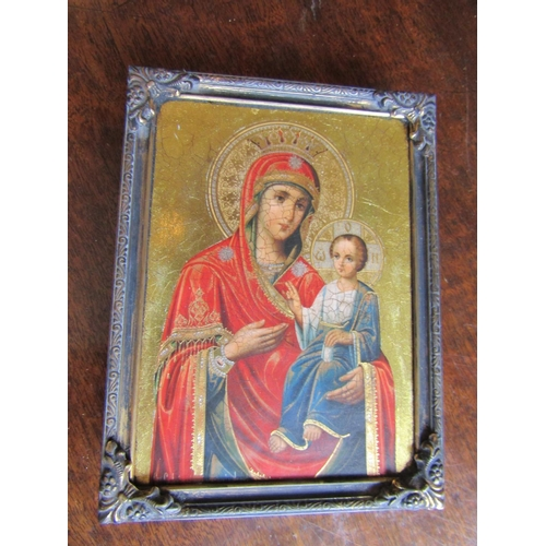 Gilt Decorated Icon Depicting The Virgin Mother and Child Seal to Verso Approximately 5 Inches High