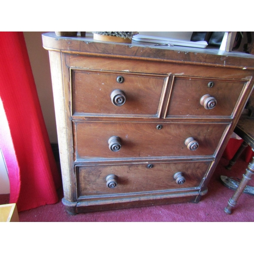 7 - Victorian Figured Mahogany Chest Two Short Three Long Drawers above Plinth Base Approximately 40 Inc...