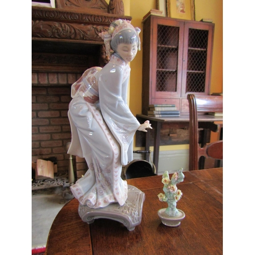 Lladro Porcelain Figure of Japanese Lady with Bonsai Tree Figure Approximately 11 Inches High
