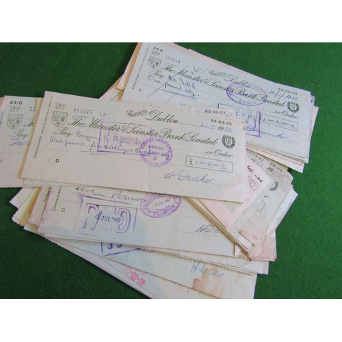Large Collection of Various Old Signed Bank Cheques Quantity As Photographed Approximately 50