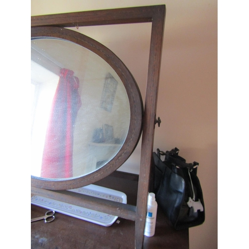 8 - Edwardian Dressing Table Mirror Oval Form with Herringbone Inlaid Decoration Approximately 23 Inches...