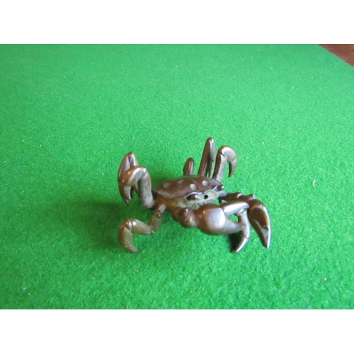 Bronze Figure of Crab Japanese Well Modelled with Signature to Base Approximately 2 Inches Wide