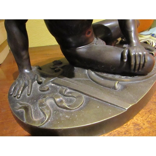 10 - Antique School Fine Sculpture of Seated Man on Oval Form Base Attractively Chased and Detailed Appro...