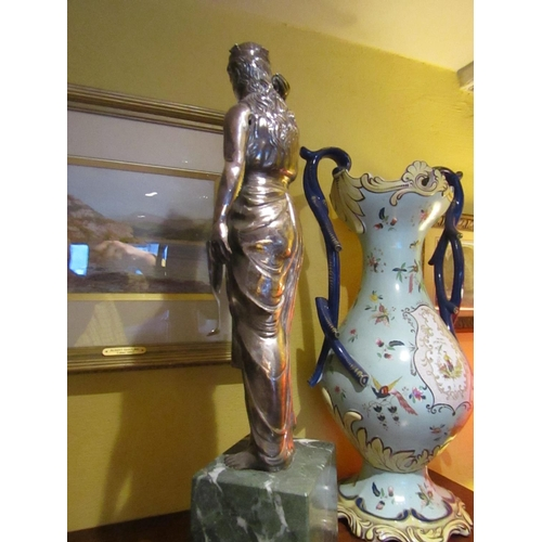 11 - Important Irish Solid Silver Figure of Hibernian Lady with Seashell Finely Detailed Resting on Origi...