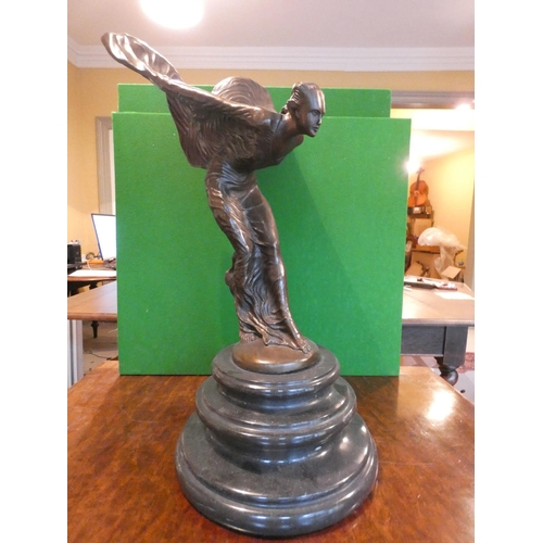 1184 - Rolls Royce Spirit of Ecstasy Bronze Sculpture on Original Turned Form Base Approximately 25 Inches ...