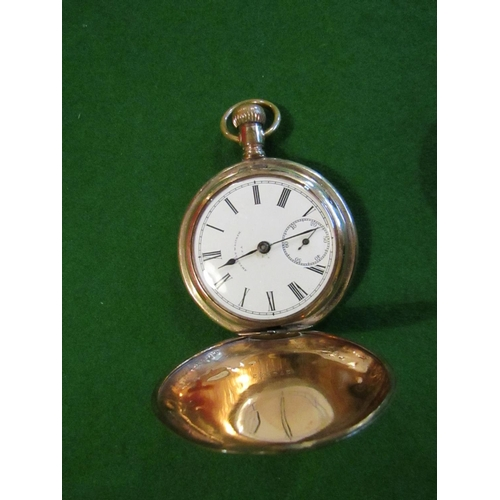 14 - Antique Walton Full Hunter Pocket Watch Roman Numeral Decorated Dial...