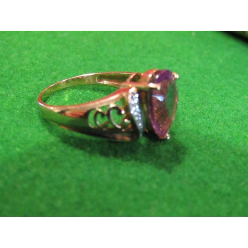 16 - Amethyst and Diamond Set Ladies 9 Carat Gold Ring Attractive Colour Size N and a Half...