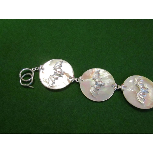 17 - Mother of Pearl Ladies Silver Mounted Bracelet...
