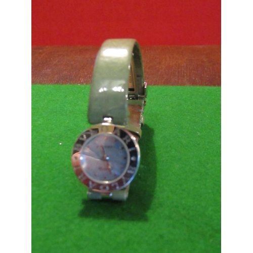 18 - Bulgari Ladies B01 Wristwatch with Signed Quartz Movement Mother of Pearl Dial Triangular Hour Marke...