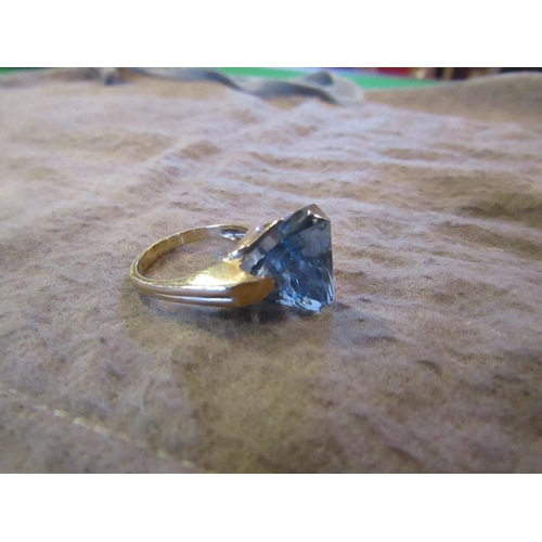 2 - Unusual Vintage 10 Carat Gold Mounted Ring with Pale Blue Gemstone Possibly Aquamarine Attractive De...