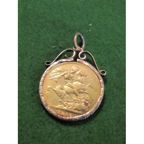 22 - Gold Full Sovereign Dated 1890 Contained within 9 Carat Gold Mount...
