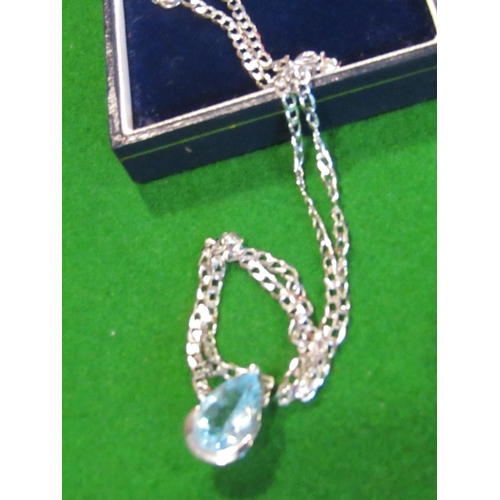 25 - 9 Carat White Gold Pendant Necklace Tear Drop Shaped Aquamarine Set in 9 Carat White Gold Mount and ...