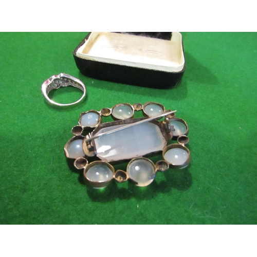 26 - Moonstone Set Brooch Antique...
