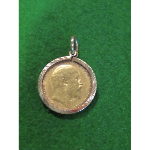 28 - Half Sovereign Dated 1909 Contained within 9 Carat Gold Mount