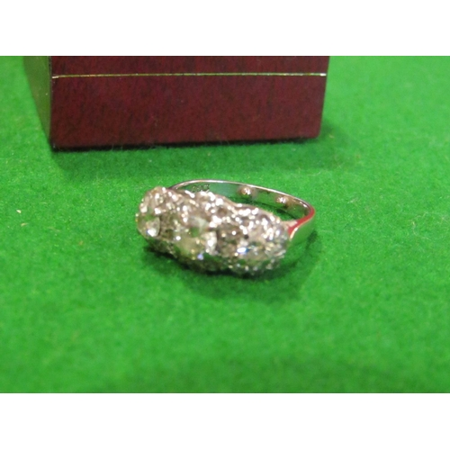 29 - Ladies Diamond Ring Mounted on 18 Carat White Gold Three Larger Diamonds Surrounded by Further Diamo...