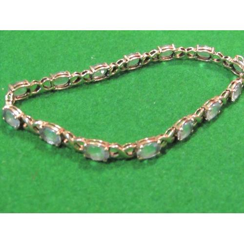 32 - Blue Topaz Set Ladies Tennis Bracelet Mounted on 9 Carat Gold...