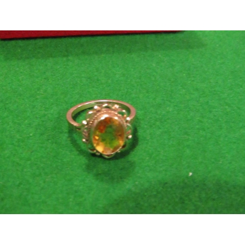 33 - 9 Carat Gold Ladies Dress Ring with Citrine Oval Cut Centre Stone Size M...