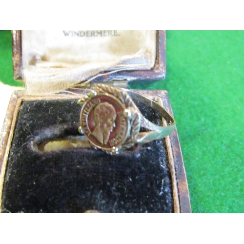 38 - Coin Set Ring P Mounted on 9 Carat Yellow Gold Band Size M