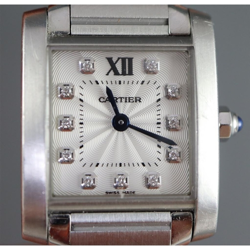 39 - Ladies Cartier Tank Watch Quartz Movement Articulated Bracelet with Diamond Set Numbers Movement Sig...
