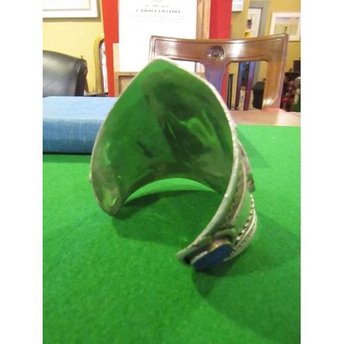 41 - Lapis Lazuli Set Ladies Silver Cuff Bracelet