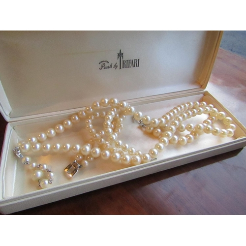 45 - Boxed Pearls by Trifari Comprising Double String of Beads and Matching Double String Bracelet Neckla...